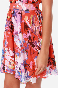 LULUS Exclusive Fun-tasia Coral Red Print Dress at Lulus.com!