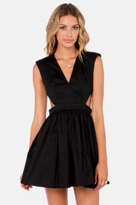 Brat Pack Cutout Black Dress at Lulus.com!