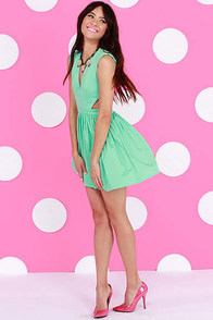 Brat Pack Cutout Mint Green Dress at Lulus.com!