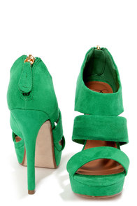 My Delicious Large Emerald Green Suede Cutout Peep Toe Heels at Lulus.com!