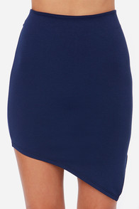 Breaking Point Asymmetrical Navy Blue Skirt at Lulus.com!