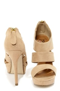 My Delicious Large Oatmeal Beige Suede Cutout Peep Toe Heels at Lulus.com!