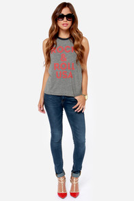 Chaser Rock and Roll USA Burnout Grey Tank Top at Lulus.com!