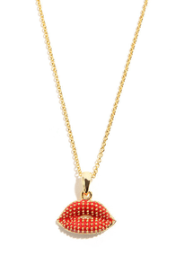 Mark My Words Red Lips Necklace at Lulus.com!