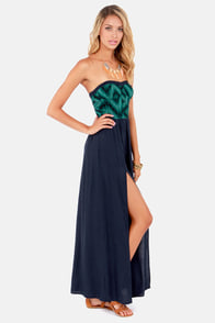 O'Neill Baxter Strapless Navy Blue Maxi Dress at Lulus.com!