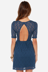 Roxy Out There Blue Lace Dress at Lulus.com!