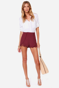 Beachfront Digs Burgundy Lace Shorts at Lulus.com!