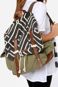 Billabong Past the Pier Army Green Backpack at Lulus.com!
