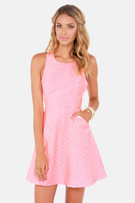 A Brocade Of Fortunes Neon Pink Dress at Lulus.com!