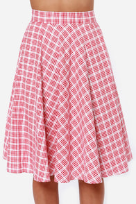 Pleasant Picnic Red Plaid Skirt at Lulus.com!