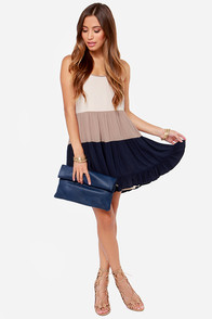 LULUS Exclusive Tier Candy Cream and Navy Dress at Lulus.com!