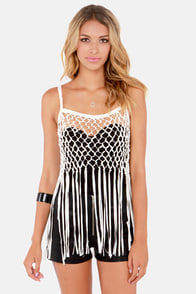 Good Karma Ivory Vegan Leather Fringe Top at Lulus.com!