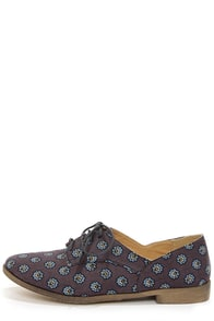 Restricted Beacan Navy Print Oxford Flats at Lulus.com!