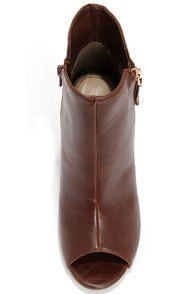 Bamboo Abbatha 13X Brown Peep Toe Booties at Lulus.com!