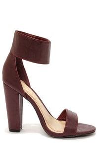 Bamboo Senza 17 Oxblood Buckled Ankle Strap Heels at Lulus.com!