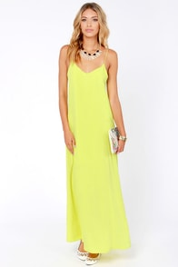 I'll Slink to That Chartreuse Maxi Dress at Lulus.com!