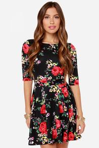 Just a Twirl Black Floral Print Dress