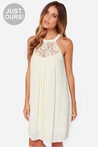 LULUS Exclusive Crepe Draper Cream Lace Dress