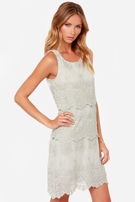 Black Swan Le Belle Light Grey Lace Dress at Lulus.com!
