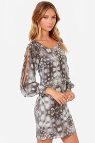 Black Swan Adele Grey Print Dress at Lulus.com!