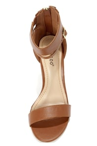 Bamboo Senza 01 Chestnut Single Strap High Heels at Lulus.com!