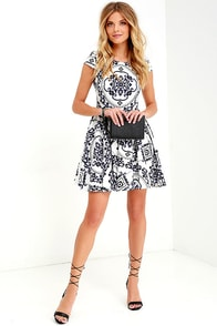 Royal Luxe Ivory Print Dress at Lulus.com!