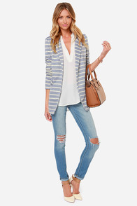 Striping Resemblance Grey Striped Blazer at Lulus.com!