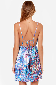 LULUS Exclusive Floral Dreamscape Backless Blue Dress at Lulus.com!
