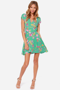 LULUS Exclusive Surplice Party Mint Floral Print Dress at Lulus.com!