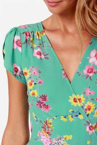 LULUS Exclusive Surplice Party Mint Floral Print Dress at Lulus.com!