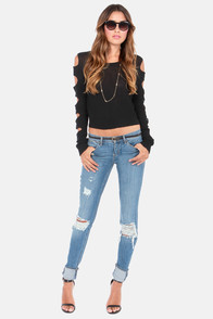 The Ins and Cutouts Black Sweater at Lulus.com!