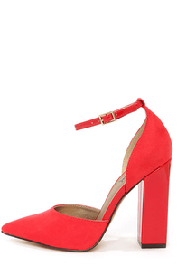 Luichiny Till We Meet Red Pointed D'Orsay Heels at Lulus.com!
