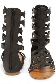 Bamboo Sawyer 03 Black Tall Gladiator Sandals at Lulus.com!
