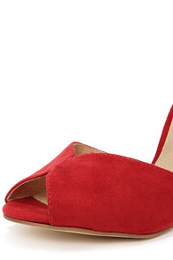 Chelsea Crew Lola Red Suede Peep Toe Heels at Lulus.com!