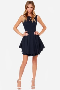 LULUS Exclusive Flirting with Danger Cutout Navy Blue Dress at Lulus.com!