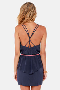 Dance Till Dawn Navy Blue Peplum Dress at Lulus.com!