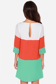 LULUS Exclusive Citrus Grove Orange and Mint Shift Dress at Lulus.com!