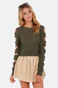 The Ins and Cutouts Olive Green Sweater at Lulus.com!