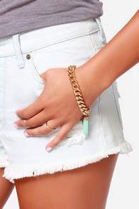 High Stakes Gold and Turquoise Bracelet at Lulus.com!