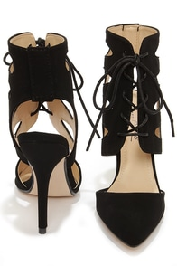 Anne Michelle Spiral 26 Black Lace-Up Pointed Heels at Lulus.com!