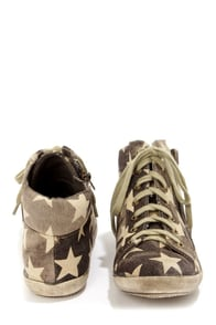 Coconuts Step Brown Star Print Distressed High Top Sneakers at Lulus.com!