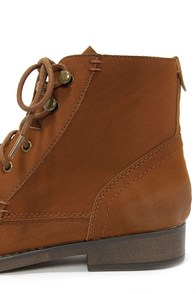 Madden Girl Ruebe Cognac Lace-Up Ankle Boots at Lulus.com!