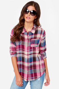 Olive & Oak State Fair Fuchsia Plaid Shirt at Lulus.com!