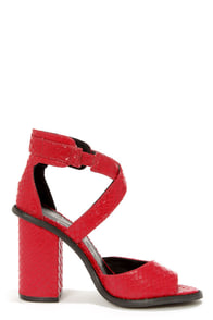 Kelsi Dagger Blanca Red Snakeskin Leather High Heel Sandals at Lulus.com!