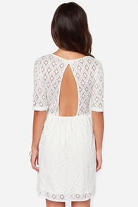 Roxy Out There Ivory Lace Dress at Lulus.com!