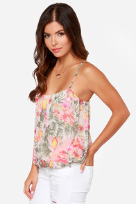 Hawaiian Style Cream Floral Print Top at Lulus.com!