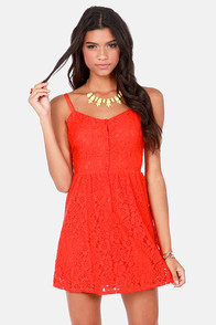 Volcom NSC Orange Lace Dress at Lulus.com!