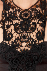 What a Crush Black Lace Halter Dress at Lulus.com!