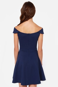 Refined Dining Navy Blue Dress at Lulus.com!