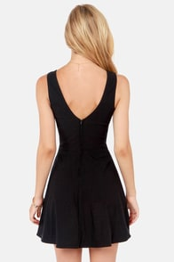 Take The Plunge Black Dress at Lulus.com!